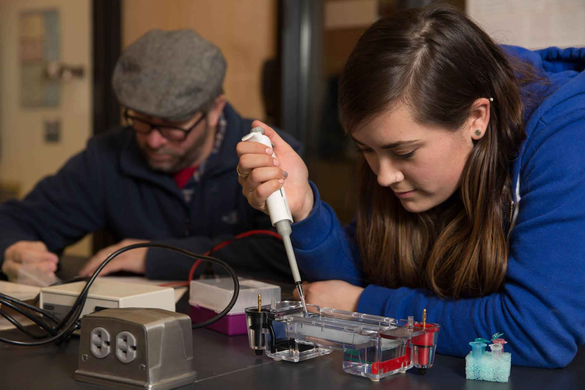 A student works on a titration project