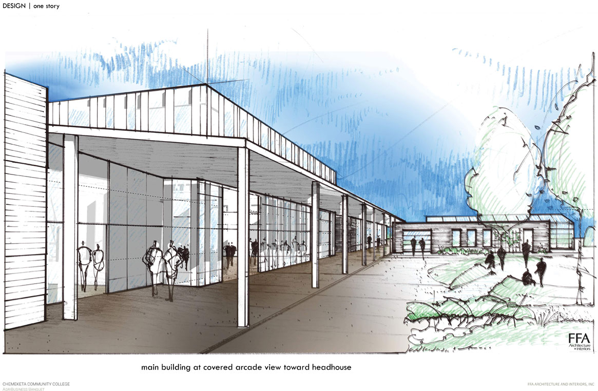 Architetcual concept drawing of Chemeketa Ag Sciences Complex building
